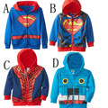 Superman Spiderman Casual Baby Boy Hoodie Coat Outerwear Jacket Zip Spring Autumn Toddler Kid Boy Clothes