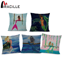 Miracille Mermaid pattern Marine Style Cushion Cover Customized Throw Pillow Home Decorative Cotton Linen Sofa Car Pillow Case cloud and balls pattern decorative throw pillow case