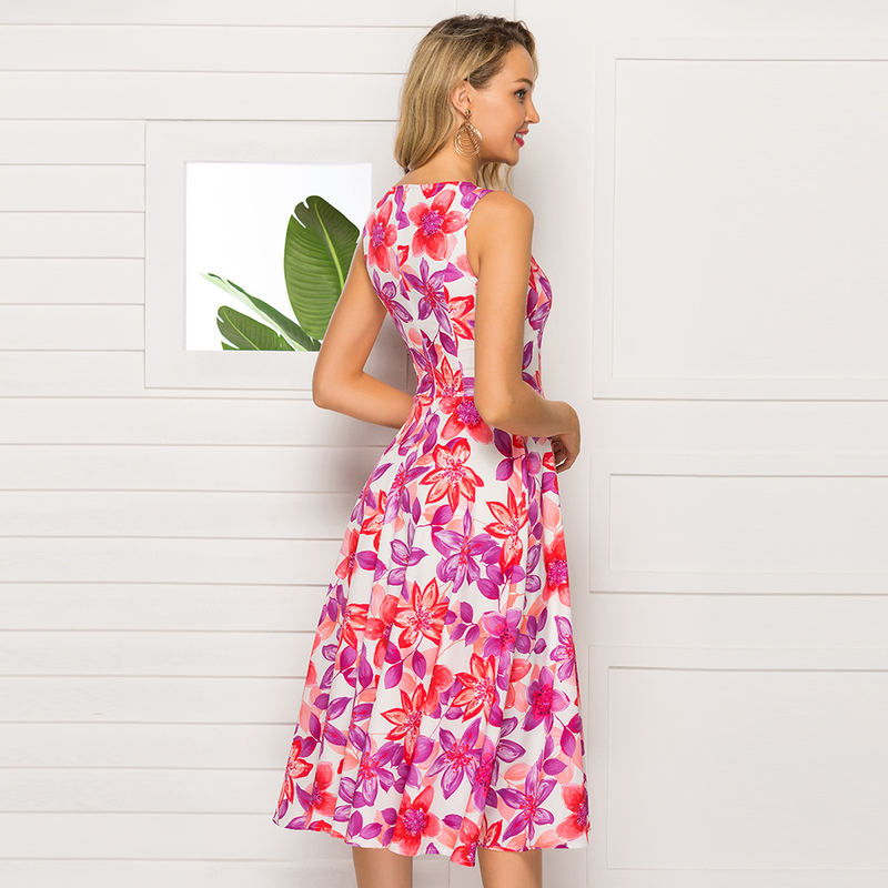 2019 Women 39 s Clothing Summer Dress Sleeve Printing Dress Casual O neck Slim A line Vestidos De Classic Retro Women Party Dresses in Dresses from Women 39 s Clothing