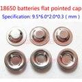 18650 tampão da soldadura de aço pode ser apontado cap ânodo da bateria de lítio 18650 baterias em vez de chapéu plana apontou