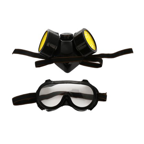 Safurance Double Filter Gas Protection Mask Filter Chemical Respirator Mask for Fire Self-help Protection Workplace Safety
