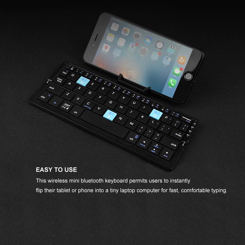 B.O.W Mini teclado inalámbrico Bluetooth plegable para tableta y - Accesorios para tablets - foto 6
