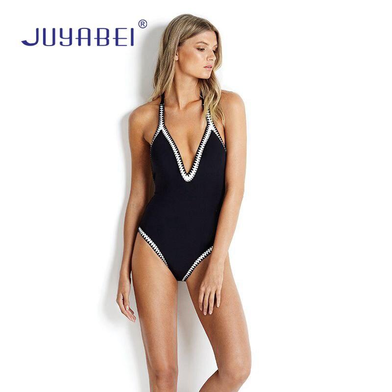 JUYABEI Sexy Black White One Piece Swimsuit Women 2017 V-neck Ladies' Swimwear Bandage Trikini Backless Swimming Suit for Women colm toibin the empty family