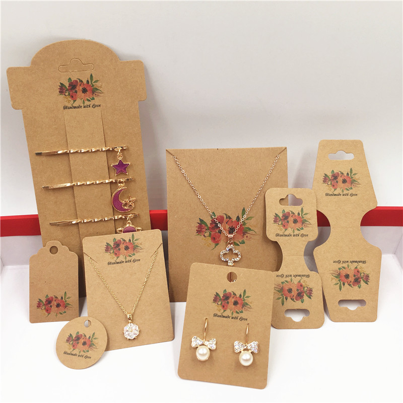 100pcs Paper Handmade With Love Flower Jewelry Display Card,Necklace/Earring/Hairpin Accessories Packaging Paper Card