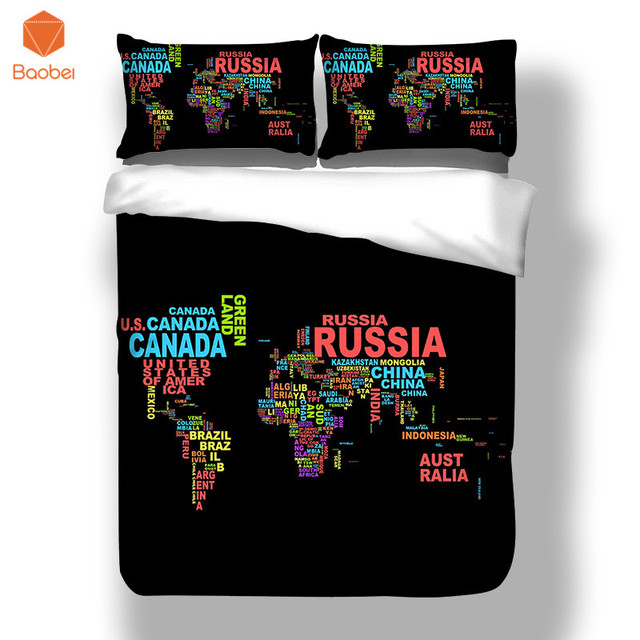 Aliexpress buy 3pcs world map black country name bedding set 3pcs world map black country name bedding set soft polyester twin full king queen duvet cover gumiabroncs Images
