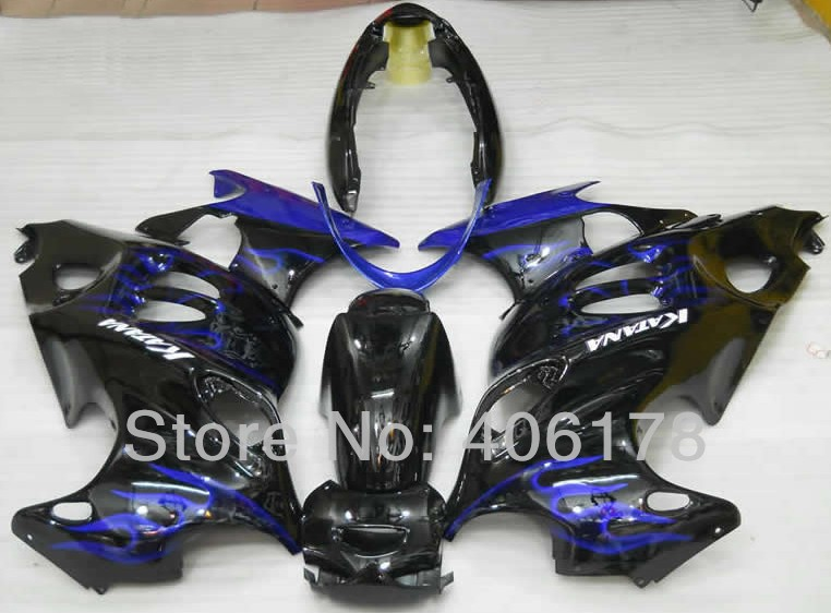 Buy Hot Sales,Aftermarket fairing GSXF750 03-06 kit For Suzuki KATANA GSXF 750 2003-2006 Blue Flame Motorcycle Fairings