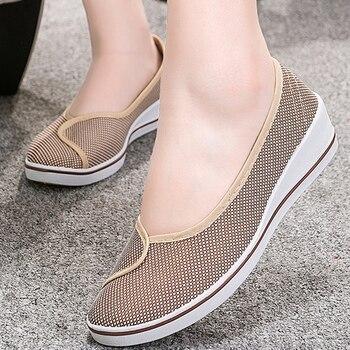 Sapatos baixos mulheres 2019 nova moda tamanho grande 4-9 plataforma de tecido de algodão sapatos de enfermeira macia antiderrapante barco sapatos mulher 1