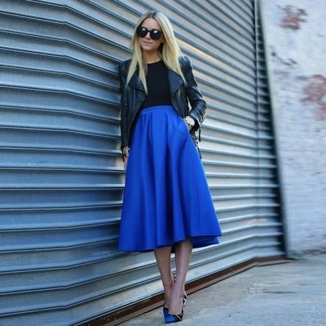 Bleu Made Faldas Royal Midi 2018 Une Custom Femme Ligne Jupes pGqUzMSVL