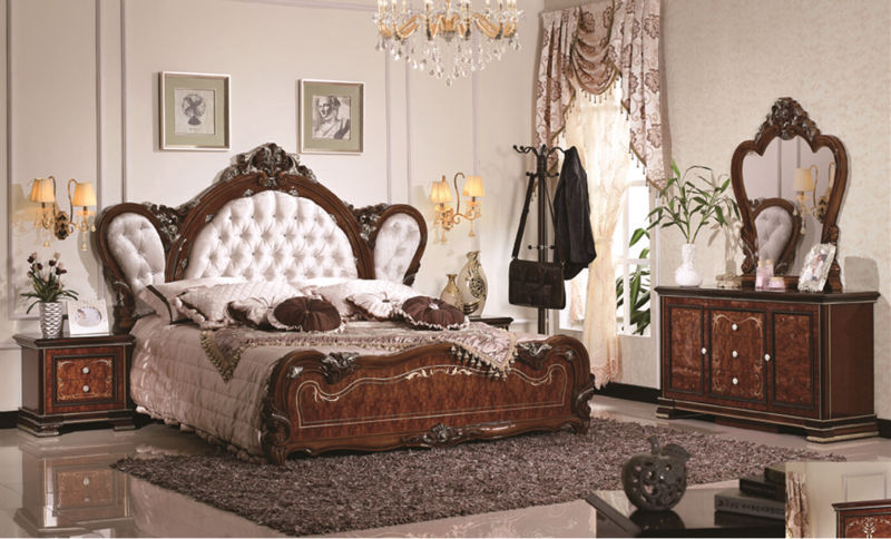 Lovely Luxury Suite Bedroom Furniture Of Europe Type Style Including 1 Bed 2  Bedside Table 1 Chest A Dresser And A Makeup Chair Nice Design