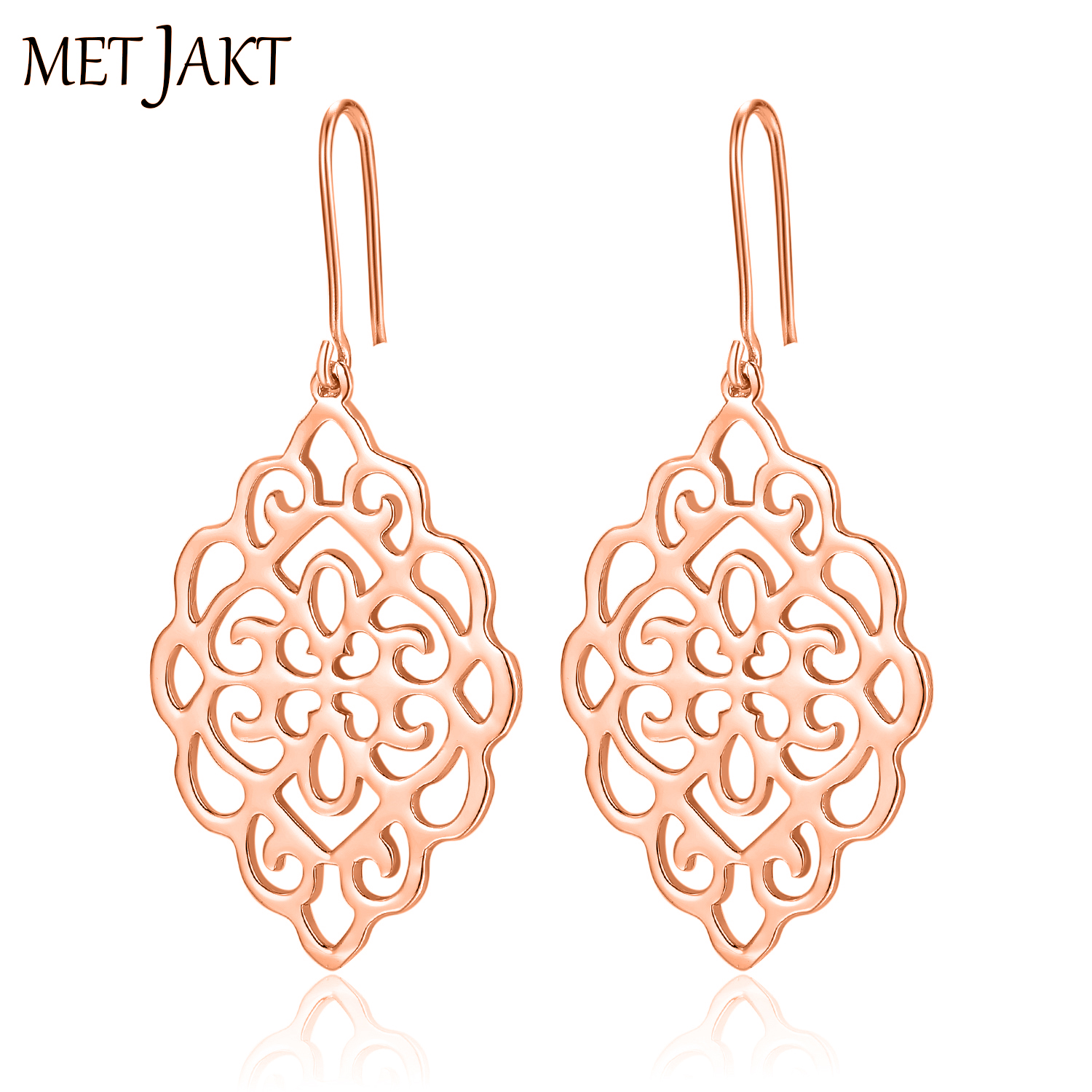 MetJakt Vintage Elegant Earrings Solid 925 Sterling Silver with 14k Rose Gold Plated Jewelry for Women's Party Wedding Jewelry yoursfs dangle earrings with long chain austria crystal jewelry gift 18k rose gold plated