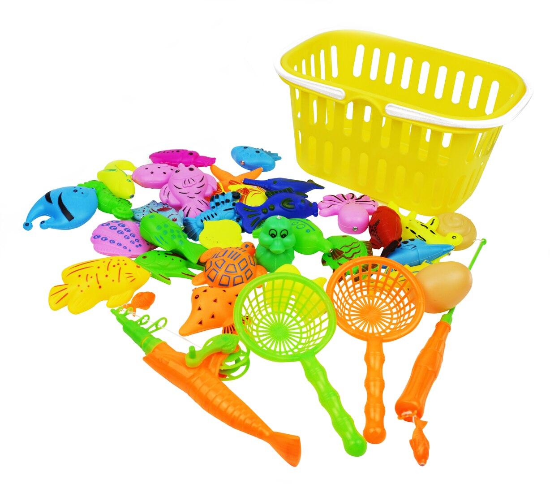 Магнитная Рыбалка надувной бассейн игры притворяться, что набор различных рыб воды для купания Игрушечные лошадки для Для детей одежда для ...