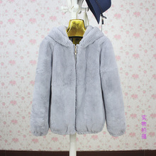 Abrigo de piel de conejo Rex natural para mujer, abrigo informal completo de piel de conejo, ropa de abrigo 2017