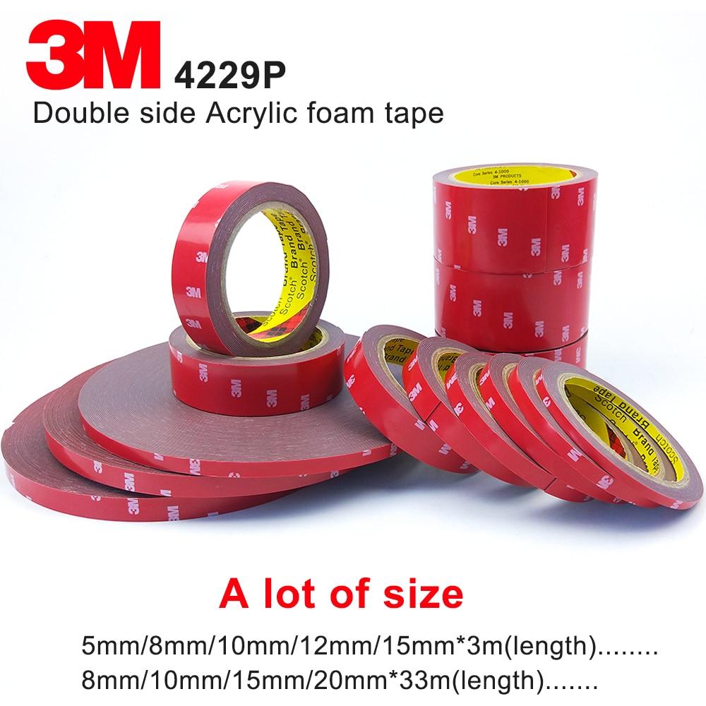 3M cinta adhesiva de espuma acrílica de doble cara 3M 4229 p, gris oscuro, grosor 0,8mm, cinta automotriz 3 M, mucho tamaño 3m cinta de doble cara cinta adhesiva transparente sin seguimiento pegatinas impermeables fuerte mejora del hogar