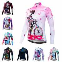 2019 Cycling Jersey mtb Bike Jersey Shirt Women Long Sleeve Cycling Clothing Bicycle Clothes Ropa Maillot Ciclismo Anti-UV Pink