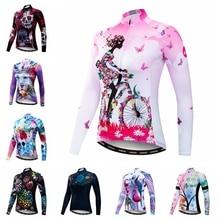 2020 قميص جيرسي للدراجة الجبلية قميص المرأة طويلة الأكمام ملابس الدراجات ملابس الدراجات روبا مايوه Ciclismo مضاد للأشعة فوق البنفسجية الوردي