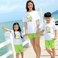 New Summer Family Matching clothing women girls men Boys t shirt pants printing family children Tops shorts sets