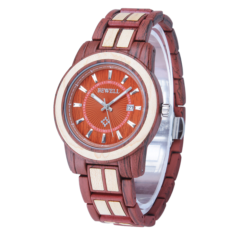 BEWELL Wooden Watch Calendar Bracelet Fashion Quartz with And Best Clasp for Your-Eyes