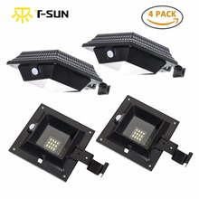 T-SUN 4 PACK 12 LED Light Waterproof Sensor Lamp Outdoor Solar Powered with Panel for Garden Fence