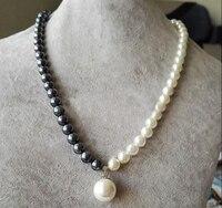 Collana di gioielli donna 8mm branello rotondo Brillante mezza Bianco nero Naturale DEL SUD MARE SHELL PERLA 12mm pendente DELLA COLLANA 18 '' 45 cm