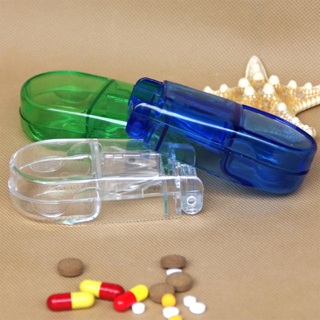 1 шт. разделите багажный отсек Box Дело медицины Pill держатель Tablet Резак Splitter Путешествия Pill Box Цвет случайный