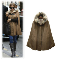Discounted Women Woolen Cloak with Black and Camel Color, Ladies Faux Fur Hooded Woolen Cloak