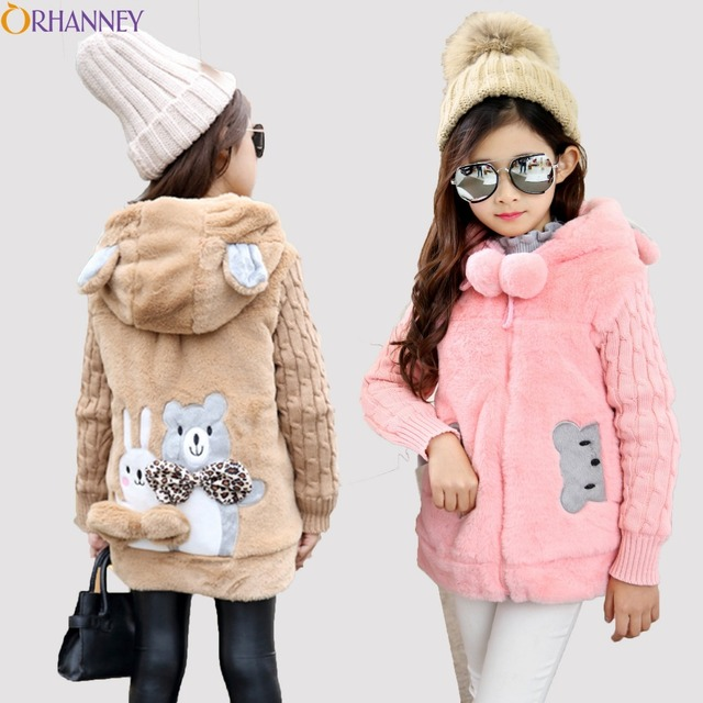 dd3175f704e1 Winter Hooded Jacket For Girls bear Faux Fur Fleece Coat Warm Jacket ...