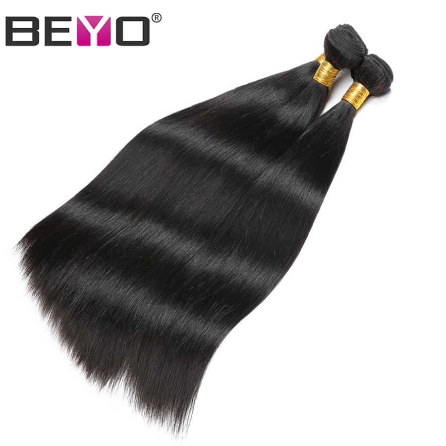 BEYO 3 Bundles Straight Peruvian Hair 100% Human Hair Weave Bundles Natural Black Bundle Deals 8-28 Non Remy Hair Extensions