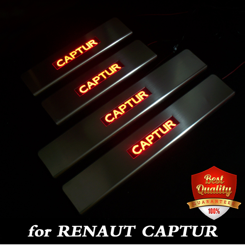 Stainless Steel Red/Blue LED light Door Sill Scuff Plate Door Sill Threshold for Renault captur / QM3 for toyota fj cruiser led door sill stainless steel scuff plate threshold sticker accessories 2 pcs