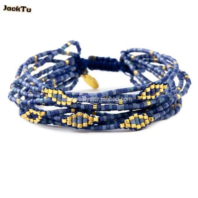 2016 women blue nylon 10 layer seed beads friendship bracelet