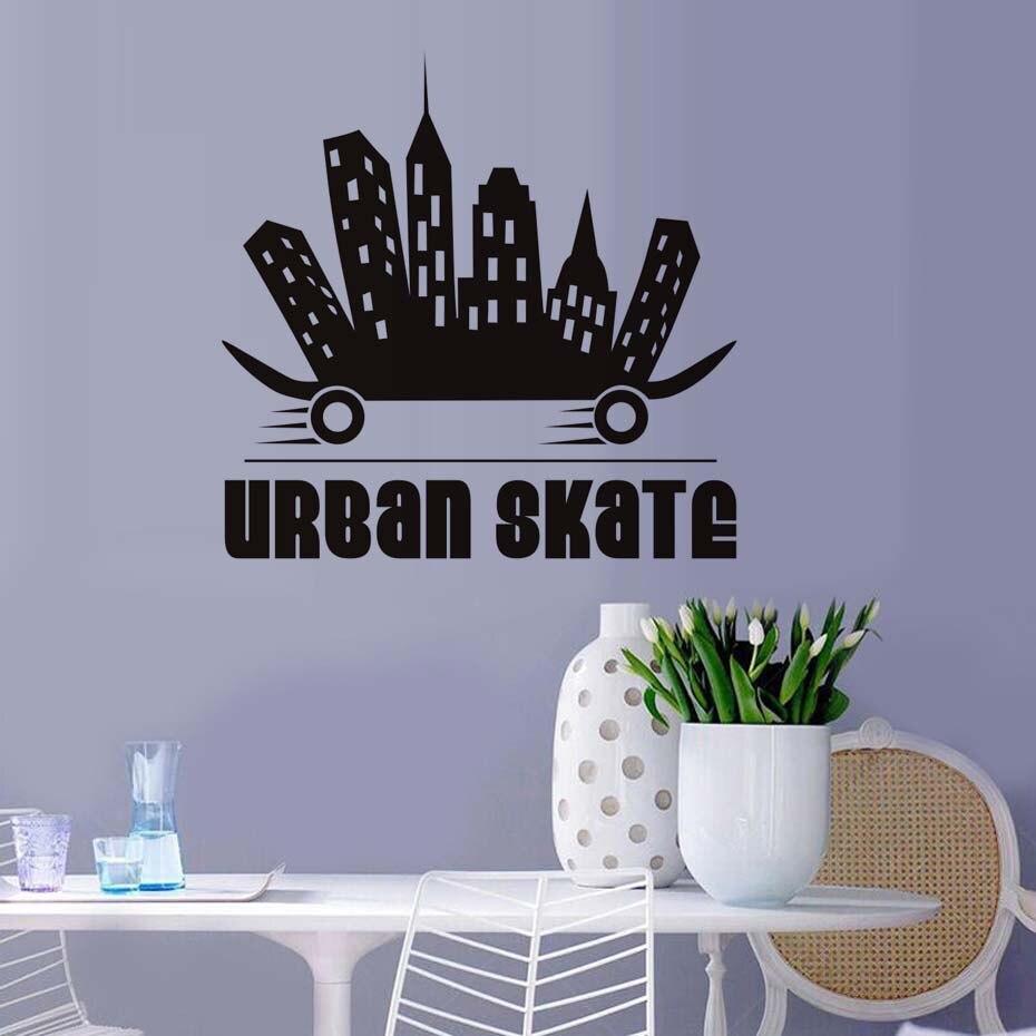 DCTOP Creative Design Urban Skate Wall Stickers Vinyl Decals Skateboard Extreme Sport Self Adhesive Boys Wall Murals Home Decor