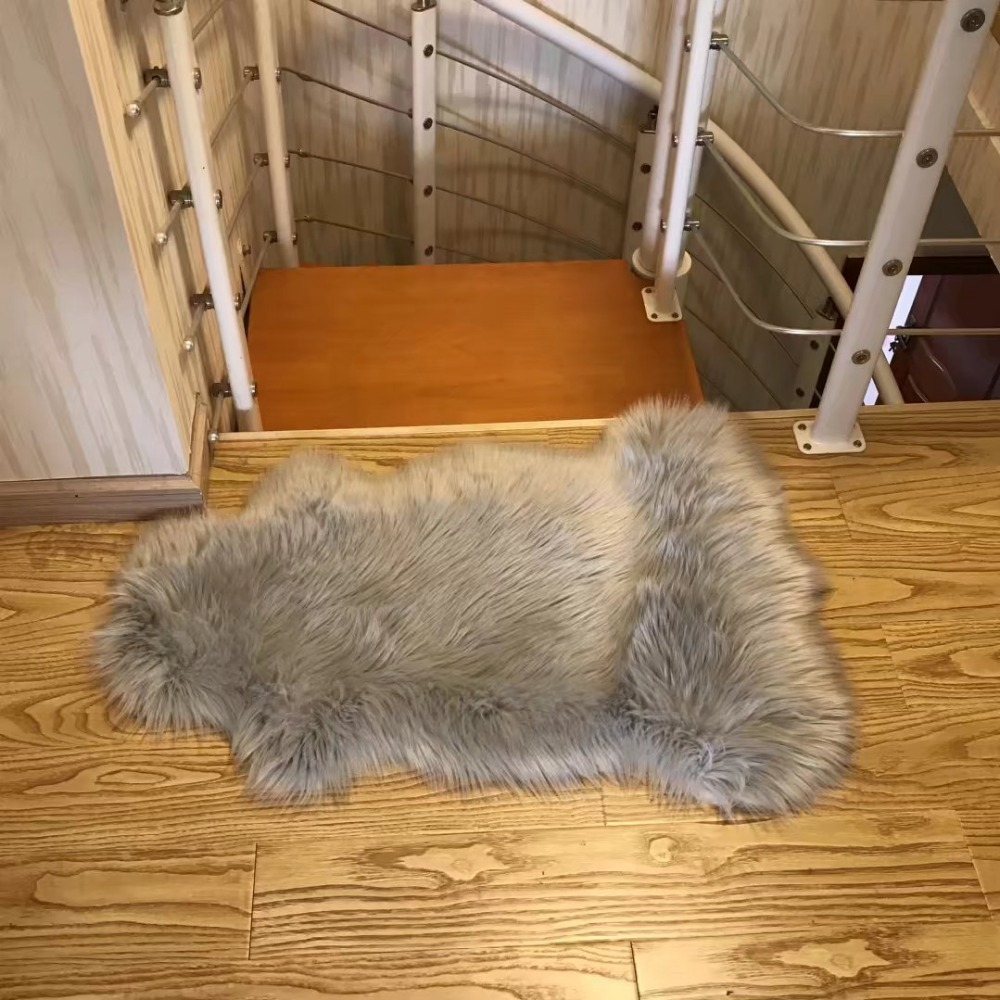 Long Faux Fur Artificial Skin Chair Seat Sofa Cover Carpet