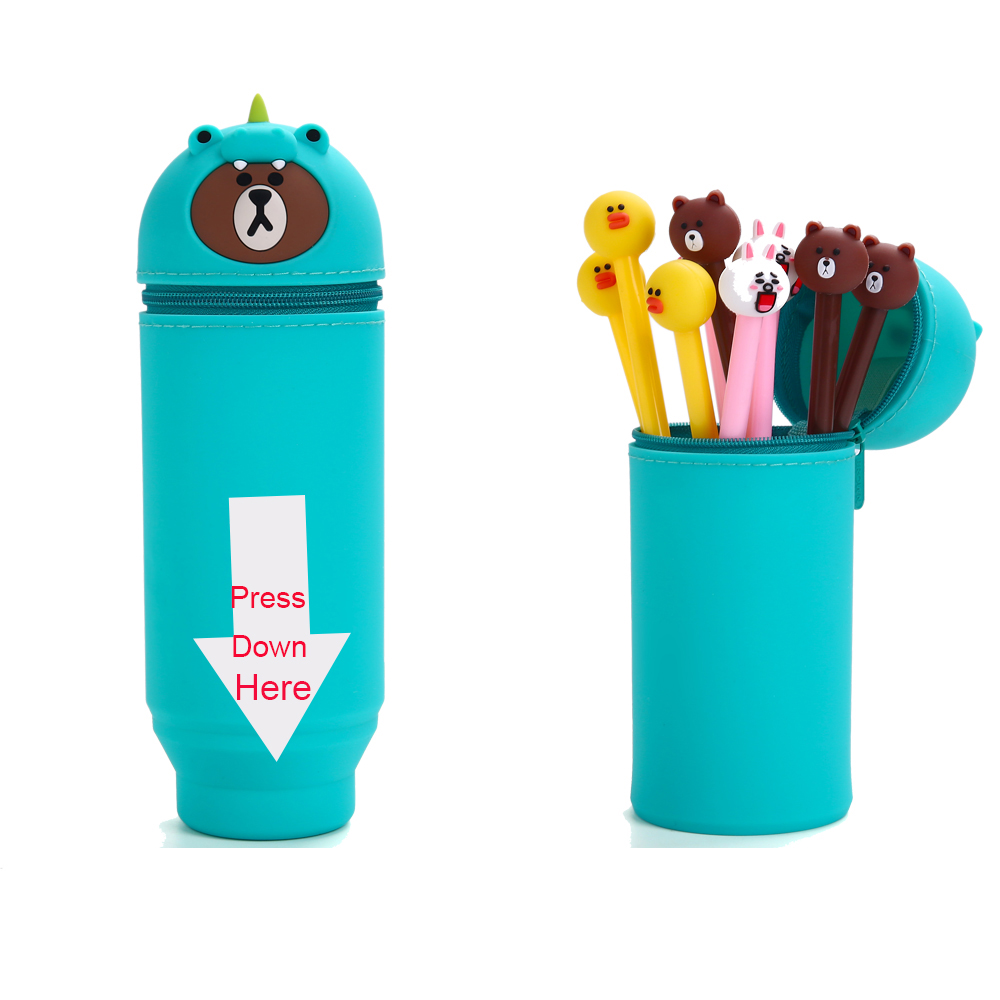 3D Cartoon Animal Soft Durable Silicone Pen Holder Pencil Holder For Desk Students Gift in Pencil Bags from Office School Supplies