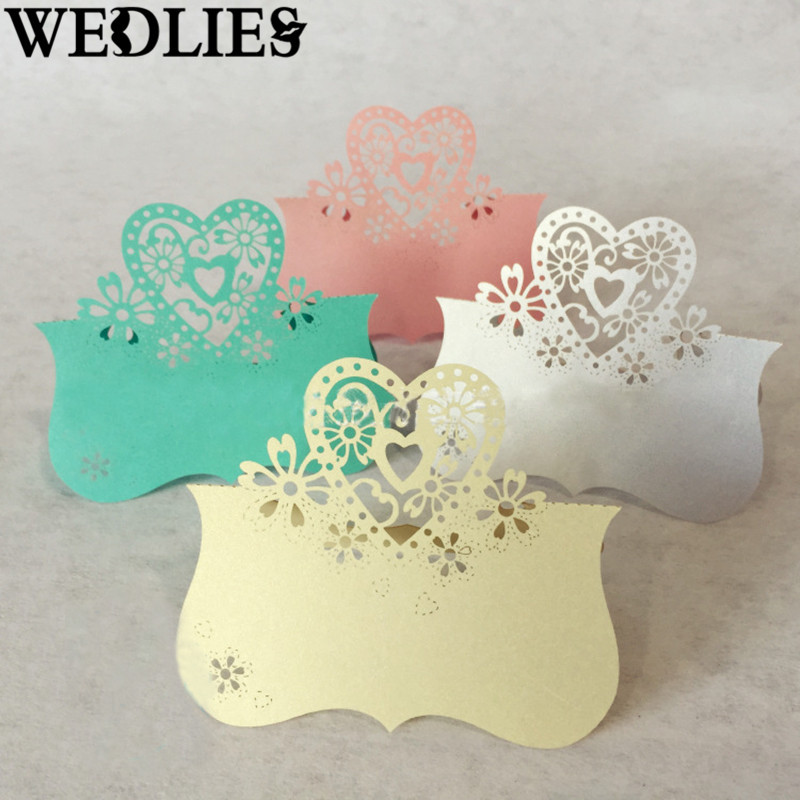 Paper Laser Cut Love Heart Place Cards 50PCS Table Name Wedding Birthday Party Events Dining