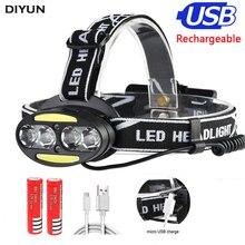 цена на Headlight 30000 Lumen headlamp 4* XM-L T6 +2*COB+2*Red LED Head Lamp Flashlight Torch Lanterna with batteries charger