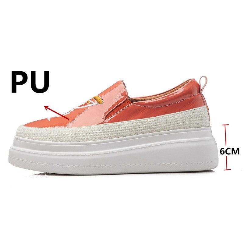 Mujeres Slip La Plataforma Moda Zapatos Las Nueva Bordar Ocasionales Verano Fedonas De Elegante Plana Planos Deportivos naranja on Mujer Primavera Negro wY64tq
