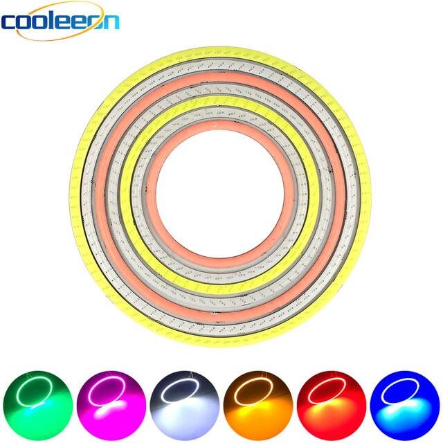 2pcs 12V Round COB LED Light Bulb 60mm 70mm 80mm 90mm 100mm 120mm Diameter Circle LED Lamp Angel Eye for Car Decor DRL Lights