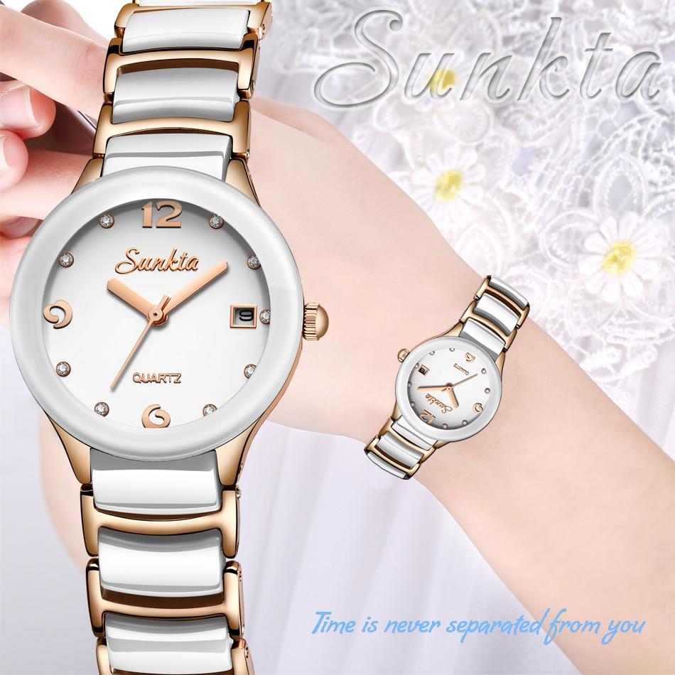 Novo sunkta relógio feminino topo marca de
