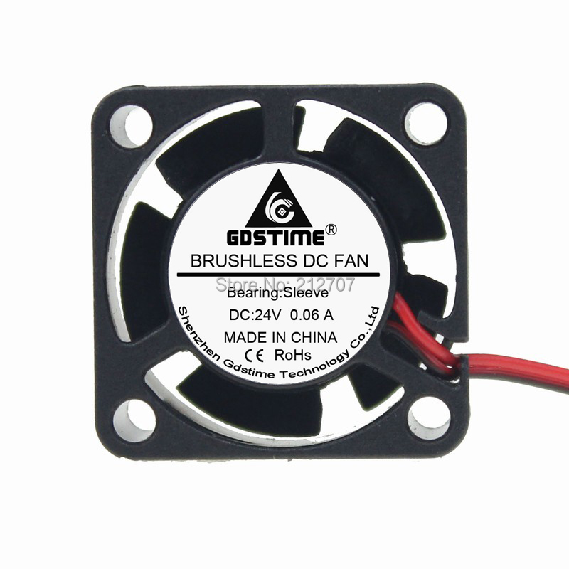 10pcs//lot Gdstime 2Pin DC 24V 25mm 2510s 25x25x10mm Mini Brushless Cooler Heatsink Cooling Fan