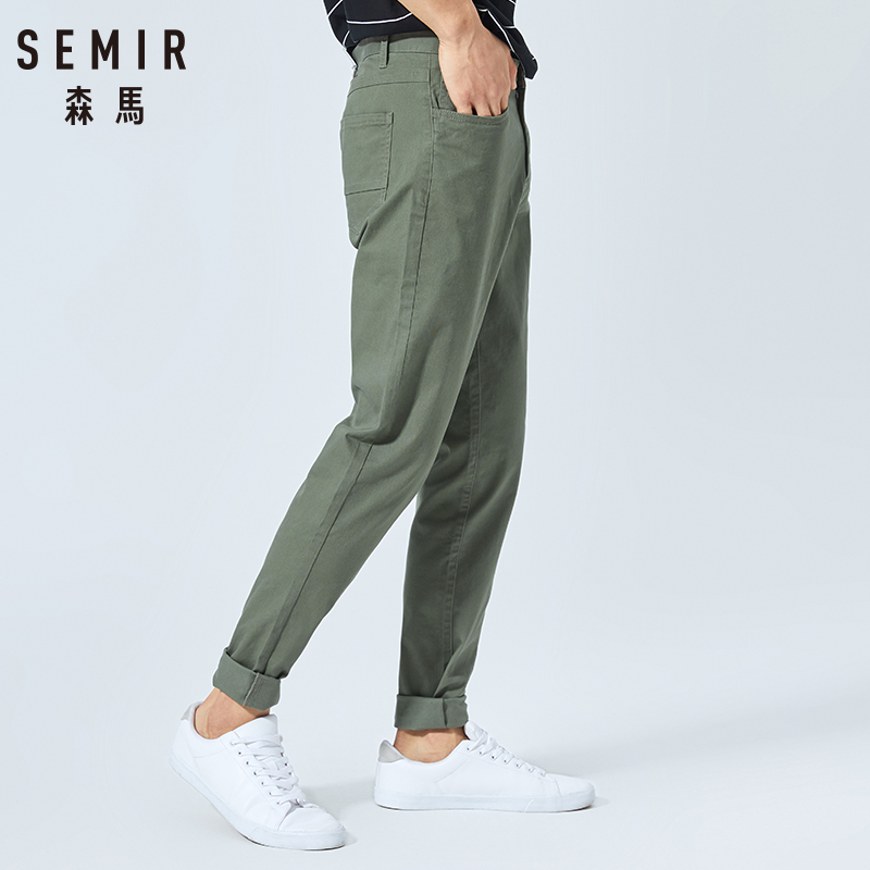 SEMIR 2019 Summer New Casual Trousers Stretch Straight Pants Male Trend Youth Hit Color Ins Pants Pantalones Hombre