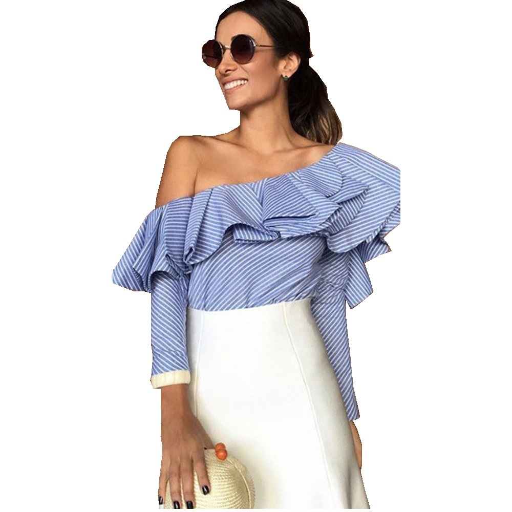 Ruffles Off The Shoulder Stylish Blouse 2017 Women Trendy Two Layers Ruffles Summer Casual Shirt NEW