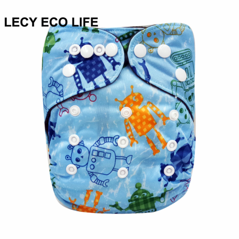 Baby Cloth Diaper Cover Waterproof robot print Washable Diapers Pocket Reusable Cloth Nappies with bamboo charcoal leg gusset