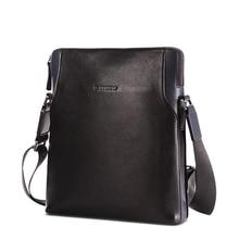 teemzone Men Genuine Leather Business Casual Messenger Shoulder Bag Tablet Satchel Cross Body Book Bag Black Free Shipping T0845