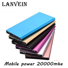 High Quality Thin Metal Power Bank 20000mAh Mobile External Battery Portable Power Bank for all smartphones Dual USB Powerbank