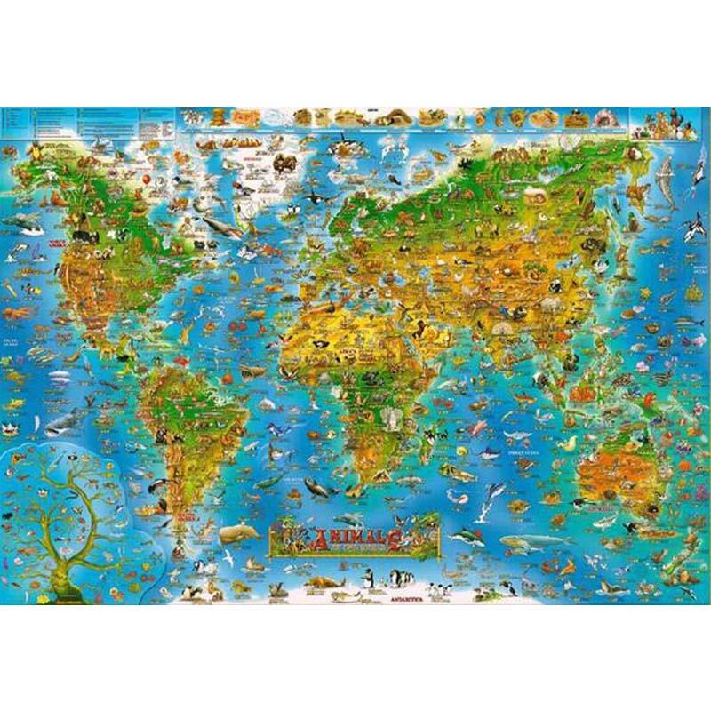 Mapa de dibujos animados del mundo El rompecabezas de madera 1000 - Juegos y rompecabezas - foto 1