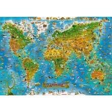 Rajzfilm térkép a világ A fából készült puzzle 1000 db ersion papír puzzle fehér kártya felnőtt gyermekek oktatási játékok