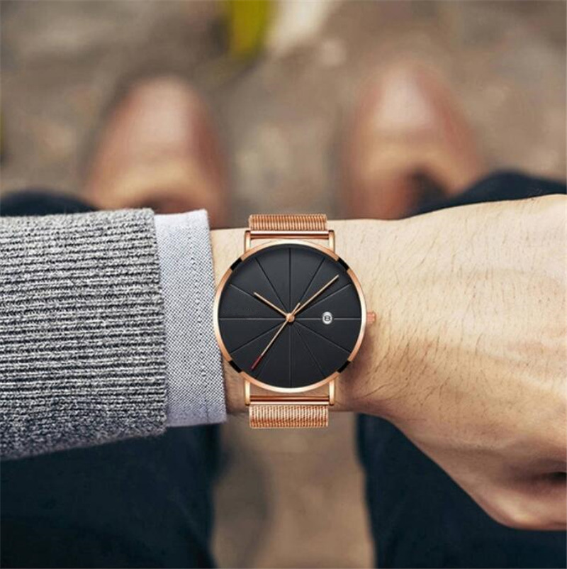 HTB14V6baRCw3KVjSZR0q6zcUpXak Luxury Fashion Business Watches Men Super Slim Watches Stainless Steel Mesh Belt Quartz Watches Gold Watches Men Gift 2019