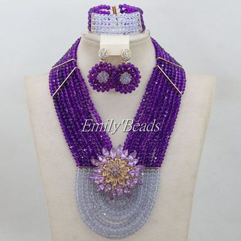 Lilac African Party Crystal Beads Jewelry Sets African Nigerian Bridal Wedding Purple Beads Jewelry Sets Free Shipping AIJ307