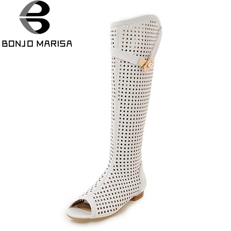 BONJOMARISA 2018 Big Size 34-47 Customized Hollow Gladiator Women Shoes Summer Boots Top Quality Comfortable Boots Shoes
