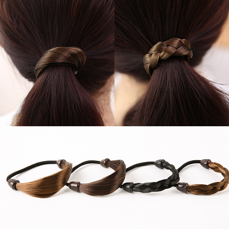 Promotional 4Colors Sale Headwear Rubber Rope Scrunchy Wig Elastic Hair Bands Women Hemp Hair Accessories Flowers LNRRABC