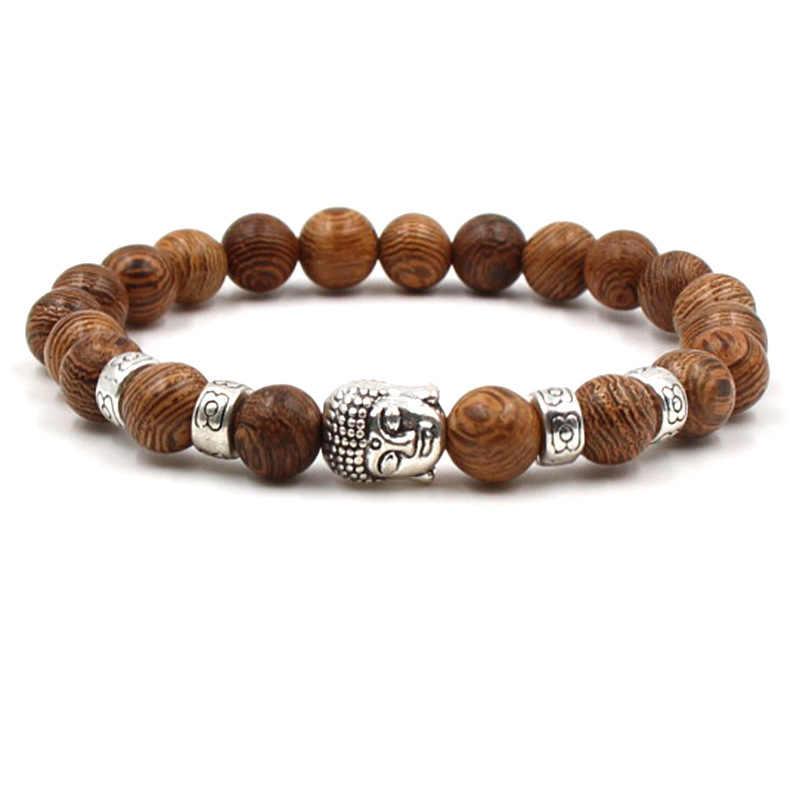 Hoge Kwaliteit Charm Nieuwe Natuursteen Kralen Buddha Armbanden Mannen Zilveren Armband Voor Mannen Vrouwen Yoga Meditatie Hand Mannen Sieraden
